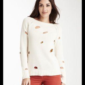Acrobat Cream Distressed Pullover Sweater